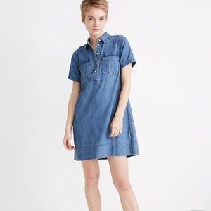 NWT Madewell Denim Short-Sleeve Popover Shirtdress